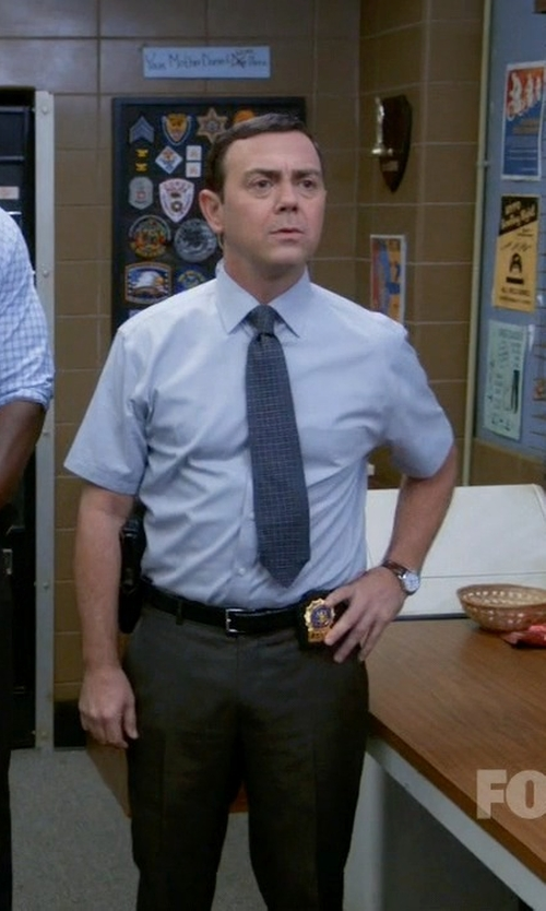 Joe Lo Truglio with Boss Black Check Tie in Brooklyn Nine-Nine