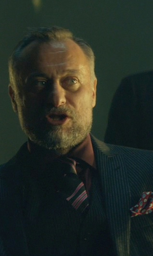 Michael Nyqvist with Brunello Cucinelli Printed Pocket Square in John Wick