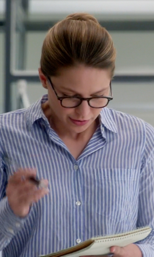 Melissa Benoist with J. Crew Stripe Boy Shirt in Supergirl