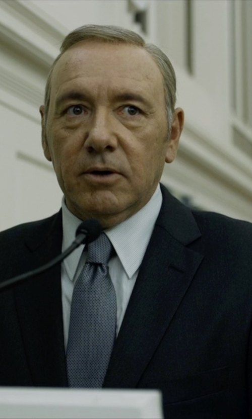 Kevin Spacey with Hugo Boss Custom Made Black Suit in House of Cards