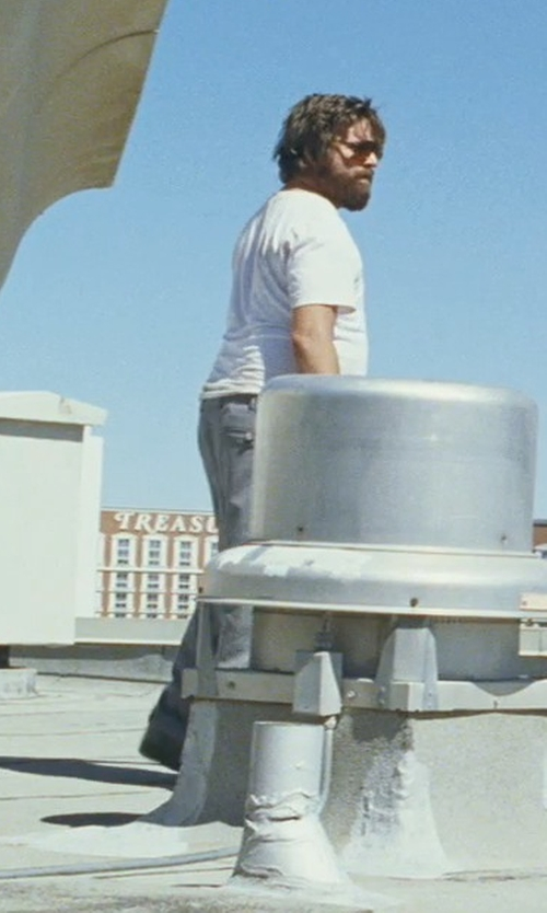 Zach Galifianakis with Perry Ellis Shirt Core Luxe Crew Neck T-Shirt in The Hangover