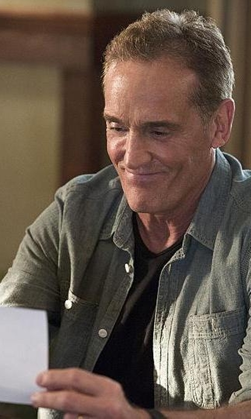 John Wesley Shipp with J. Crew Selvedge Japanese Chambray Utility Shirt in The Flash