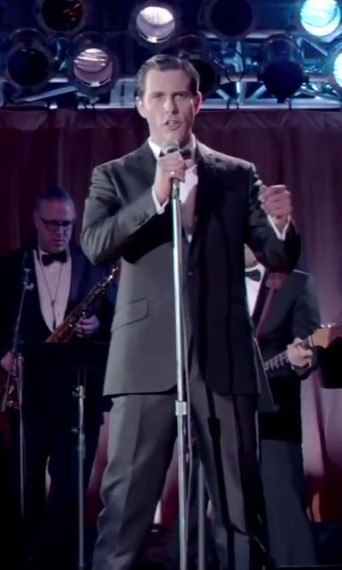 Michael Lomenda with Ike Behar Satin Notched-Lapel Wool Classic-Fit Tuxedo in Jersey Boys
