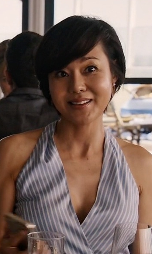 Yunjin Kim with Polo Ralph Lauren Stripe Silk Fit-&-Flare Dress in Mistresses