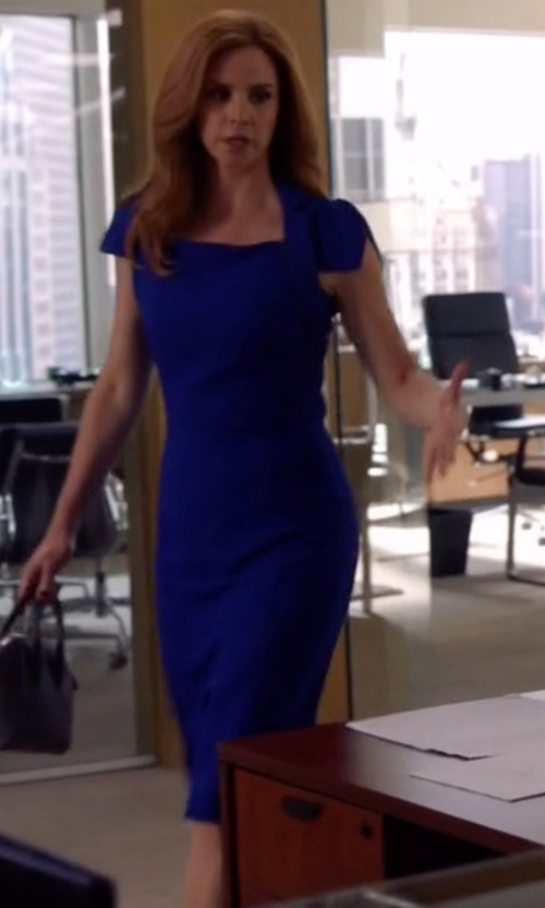 Sarah Rafferty with Antonio Berardi Cady Cap Sleeve Dress in Suits
