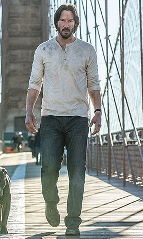 Keanu Reeves with Salvatore Ferragamo Laurent Calfskin Lace-Up Shoes in John Wick: Chapter 2