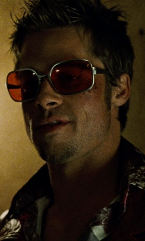 Brad Pitt with Oliver Peoples OP-523 Sunglasses with Gothic Rose Lenses in Fight Club