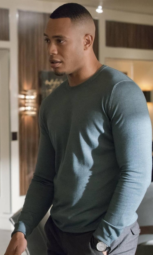 Trai Byers with Tomas Maier  Cotton Tee in Empire