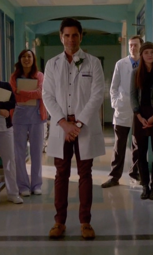 John Stamos with Salvatore Ferragamo Mason Suede Loafers in Scream Queens