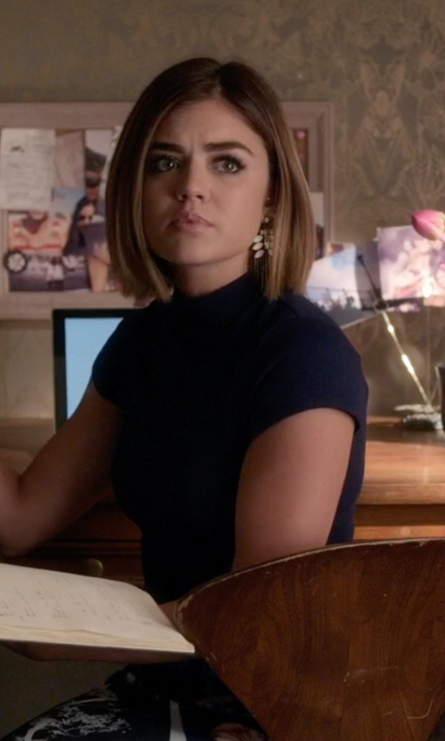 Lucy Hale with Aqua  Mock Neck Short Sleeve Chevron Texture Crop Top in Pretty Little Liars