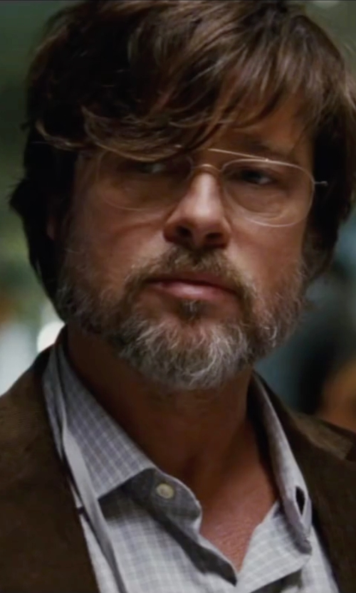 Brad Pitt with Ike Behar  Tonal Check Dress Shirt in The Big Short