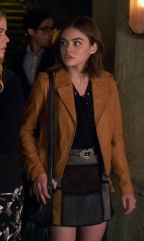 Lucy Hale with Zara Patchwork Leather Mini Skirt in Pretty Little Liars