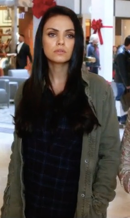 Mila Kunis with York Street Long Slouchy Jacket in A Bad Moms Christmas