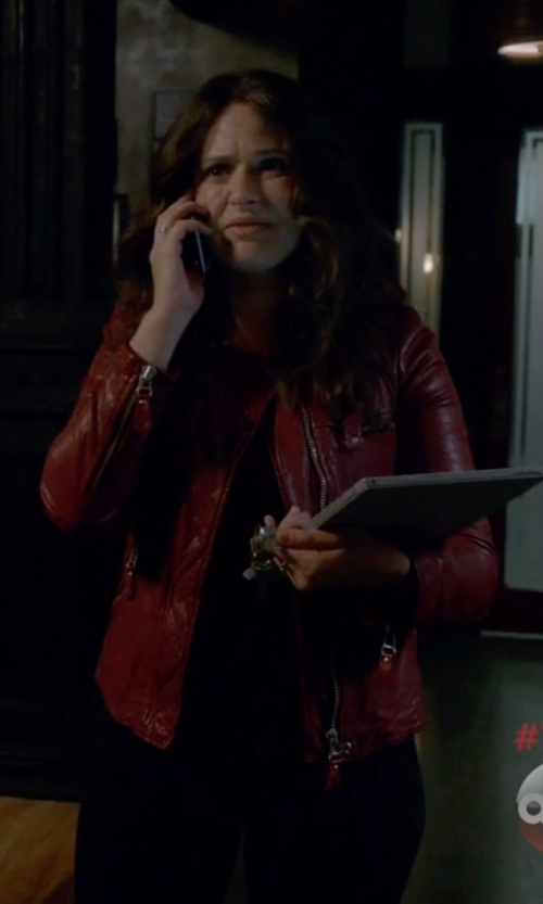 Katie Lowes with Isabel Marant Étoile Kady Washed Leather Moto Jacket in Scandal