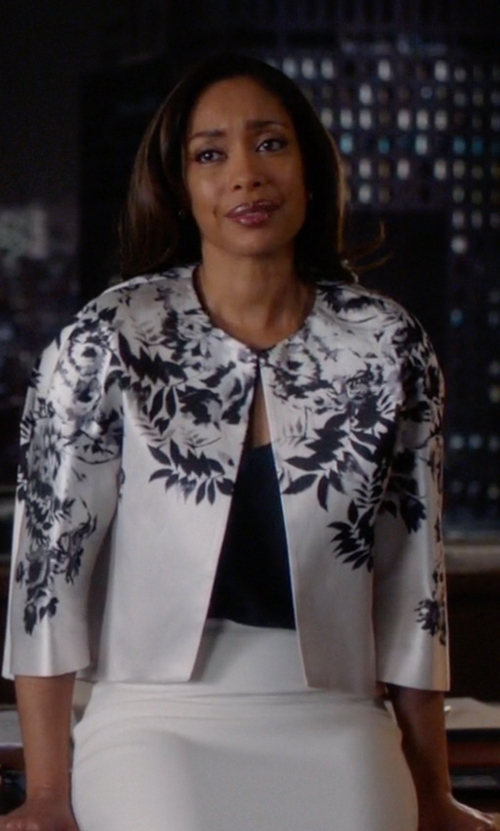 Gina Torres with Giambattista Valli Cropped Floral Jacket in Suits