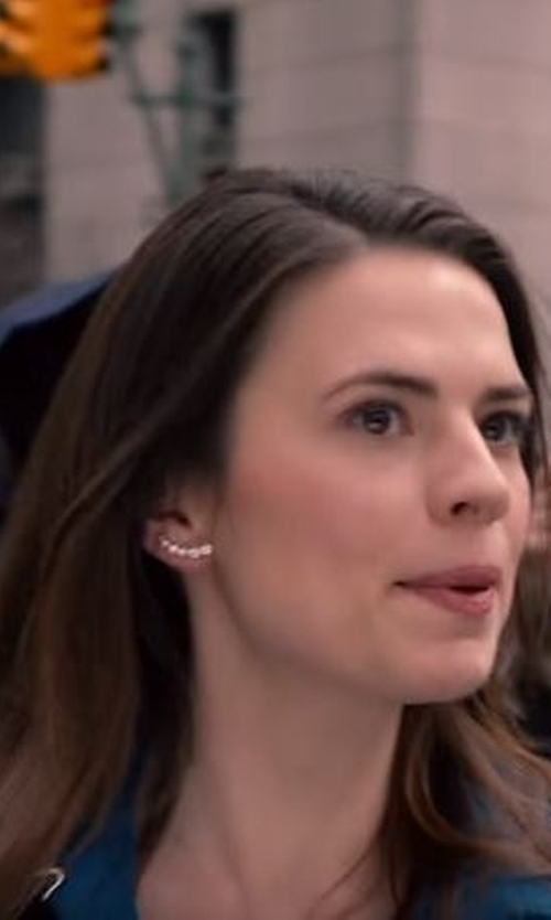 Hayley Atwell with Wrapped In Love Diamond Ear Crawlers in Conviction