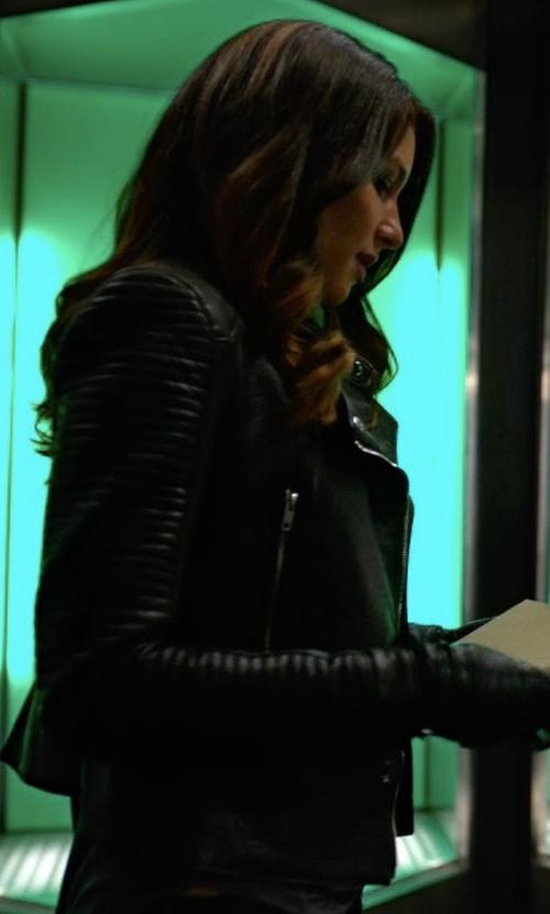 Juliana Harkavy with Zara Leather Effect Jacket in Arrow