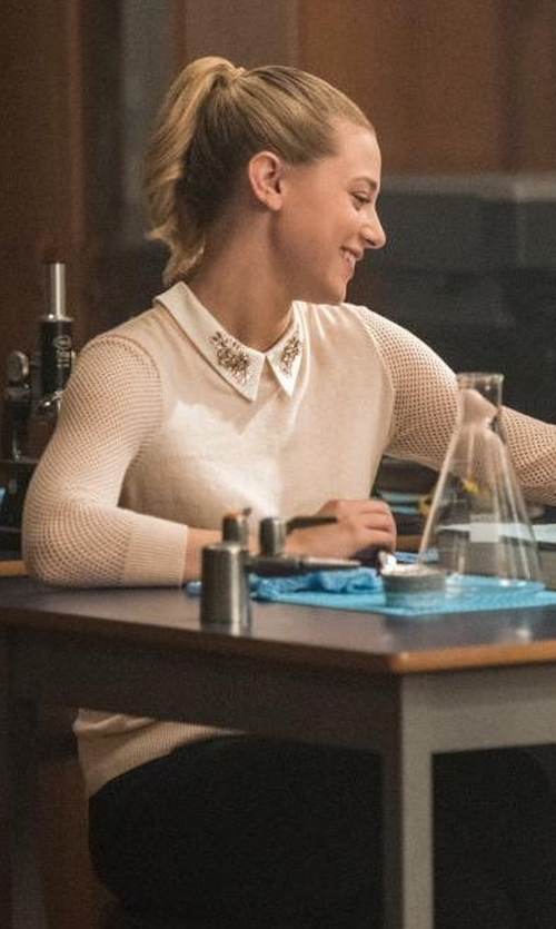 Lili Reinhart with Ted Baker London Embellished Collar Mesh Sleeve Sweater in Riverdale