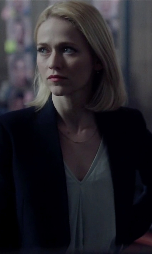 Johanna Braddy with Theory Lanai Blazer in Quantico