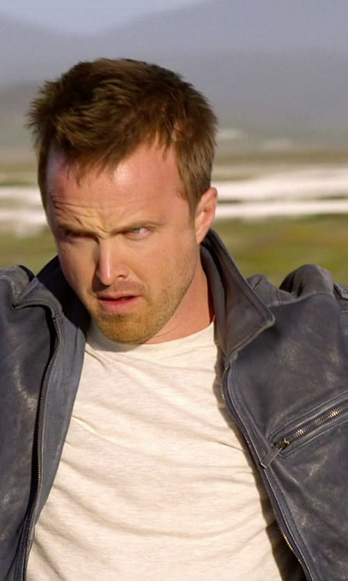 Aaron Paul with Emporio Armani Biker Jacket In Garment-Washed Nappa Lambskin in Need for Speed