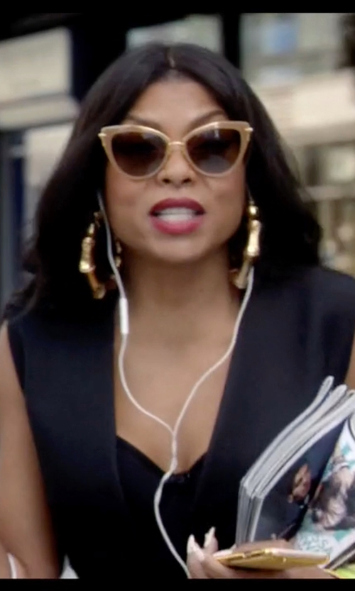 Taraji P. Henson with Gucci Bamboo 18k Yellow Gold Hoop Earrings in Empire