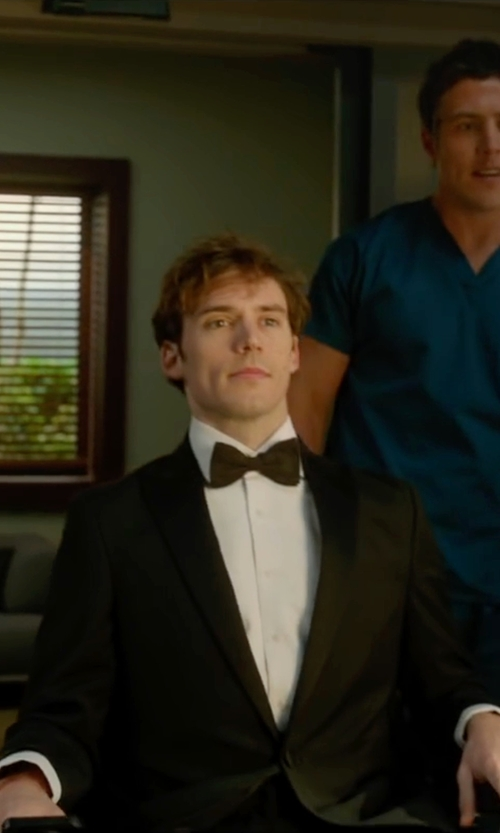 Sam Claflin with Hackett Londan Peak Lapel Tuxedo Suit in Me Before You