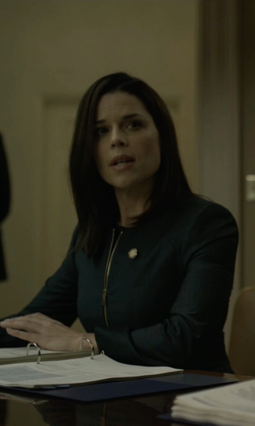 Neve Campbell with Ted Baker Stacia Chintz Curved Suit Jacket in House of Cards