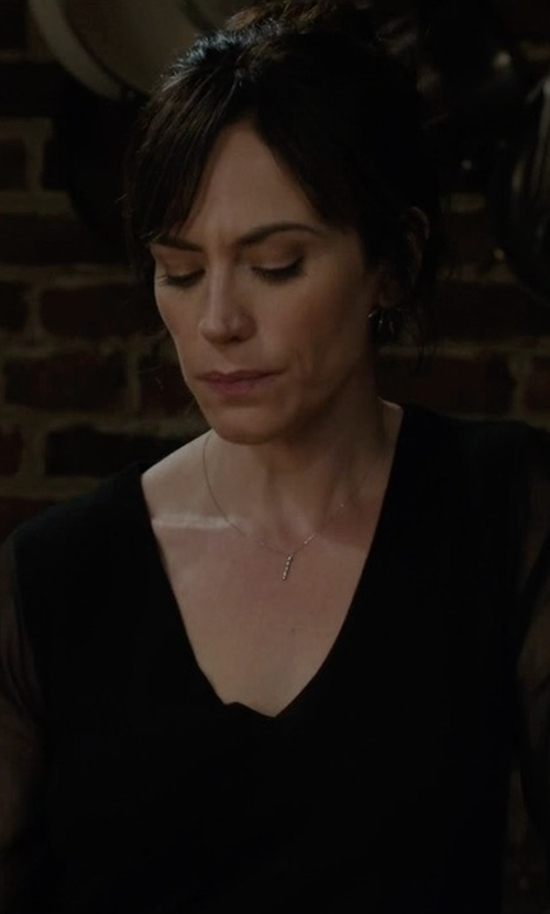 Maggie Siff with St. John Collection Silk Asymmetric-Ruffle Blouse in Billions