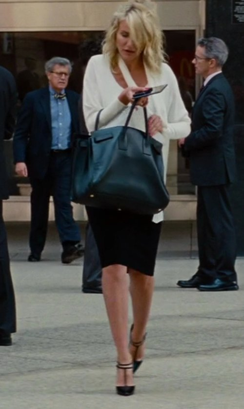 Cameron Diaz with Christian Louboutin Black V-Neck Stiletto Heels in The Other Woman