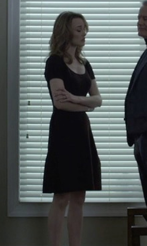 Dominique McElligott with Halston Heritage Wide Crewneck Fit-&-Flare Dress in House of Cards