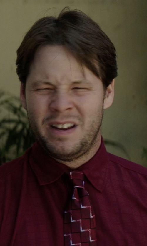 Ike Barinholtz with Black Brown 1826 Classic Fit Silk Checked Tie in Neighbors