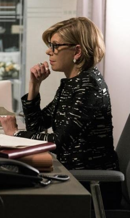 Christine Baranski with Piazza Sempione Collarless Printed Jacket in The Good Fight