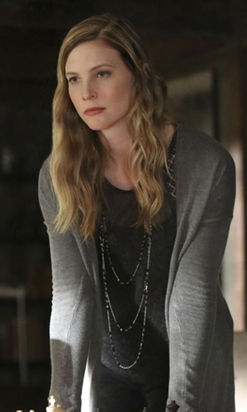 Elizabeth Blackmore with Michael Michael Kors Mesh Panel Knit Tank Top in The Vampire Diaries
