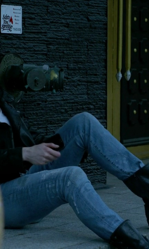 Krysten Ritter with Sofft Acasia Buckle Strap Zipper Fashion Boots in Jessica Jones