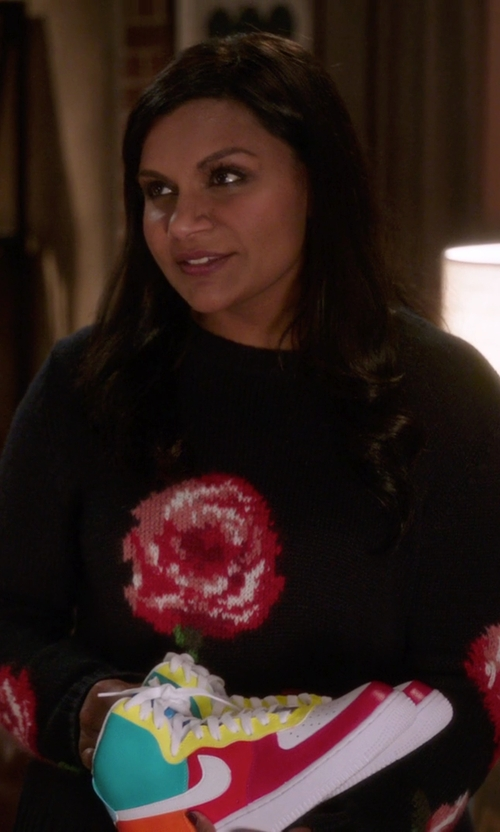 Mindy Kaling with Blue Les Copains Floral Sweater in The Mindy Project