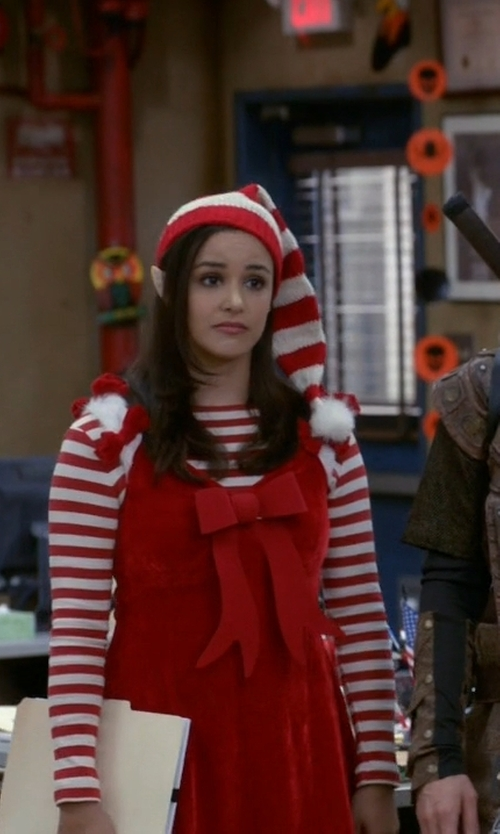 Melissa Fumero with California Costumes Santa's Helper Costume in Brooklyn Nine-Nine