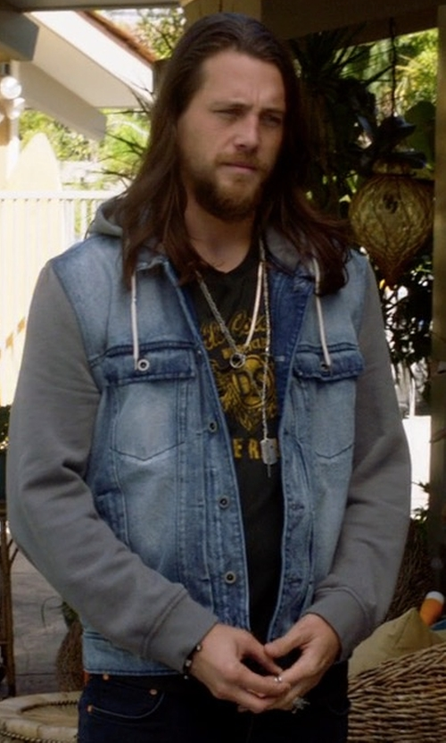 Ben Robson with Easy Mens Splice Sleeves Denim Hoodie in Animal Kingdom