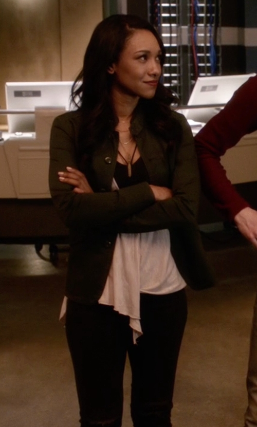 Candice Patton with Monrow Vintage Shirt Jacket in The Flash
