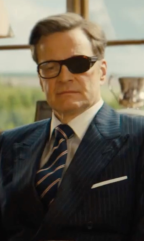 Colin Firth with Kingsman + Drake's Striped Silk And Cotton-Blend Faille Tie in Kingsman: The Golden Circle
