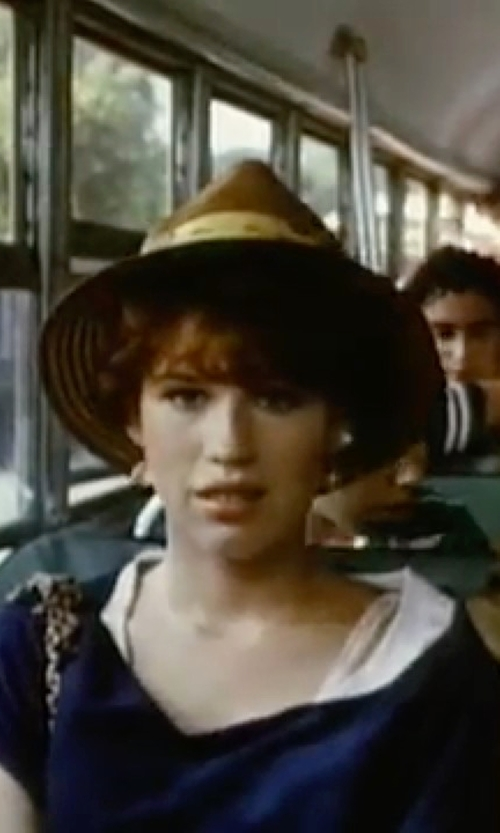 Molly Ringwald with Brixton Shooter Straw Fedora Hat in Sixteen Candles