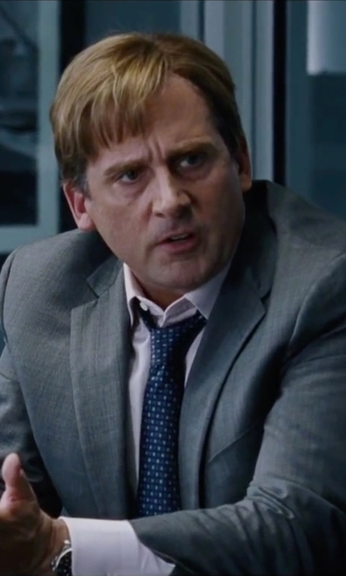 Steve Carell with Armani Collezioni	 Square & Dot-Print Silk Tie in The Big Short