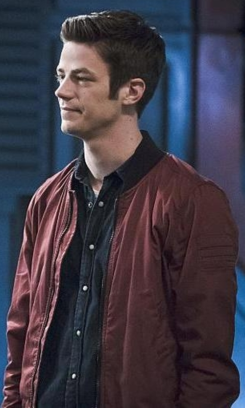 Grant Gustin with G-Star Sham Ribbed Collar Zip Up Bomber Jacket in The Flash