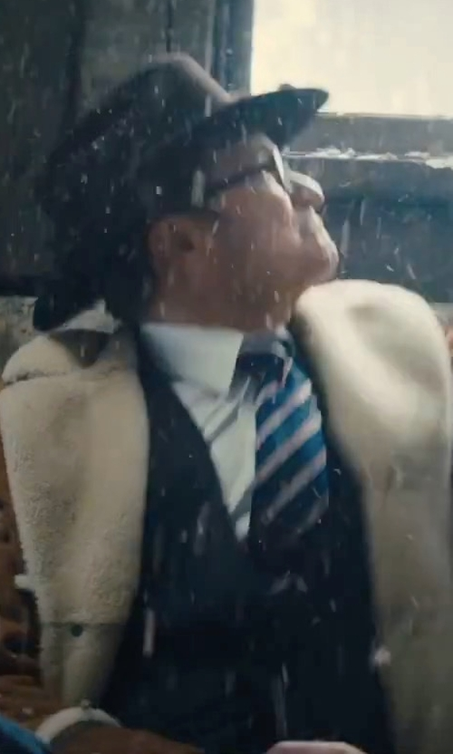 Colin Firth with Kingsman Harry's Statesman Leather-Trimmed Shearling Coat in Kingsman: The Golden Circle