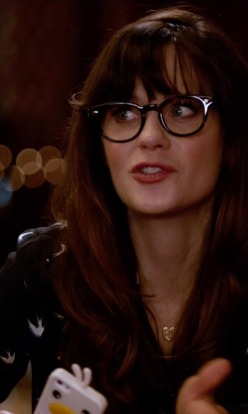 Zooey Deschanel with Kate Spade New York Long Sleeve Bird Print Shirtdress in New Girl