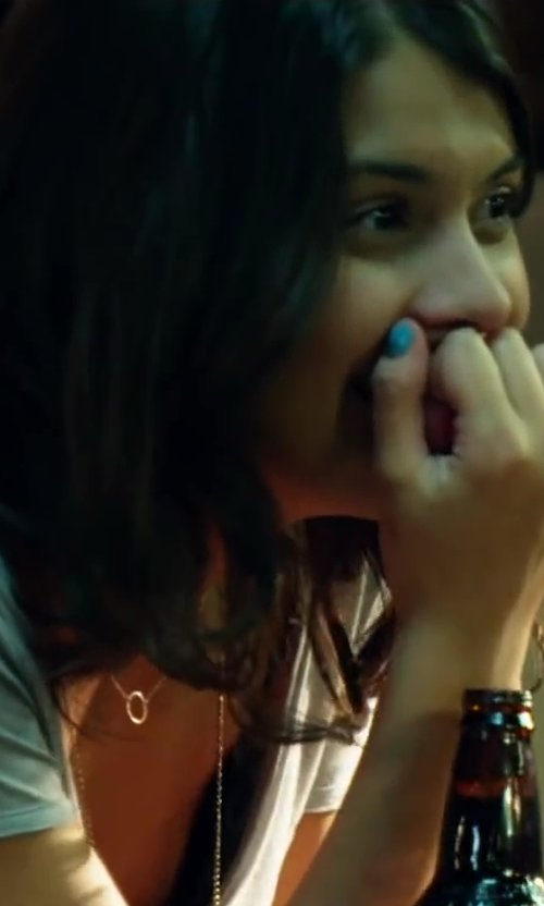 Sofia Black-D'Elia with Tory Burch Kinsley Dog Tag Necklace in Project Almanac