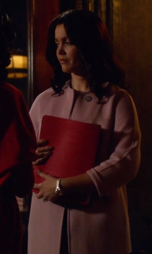 Bellamy Young with Blue Les Copains Full-Length Jacket in Scandal
