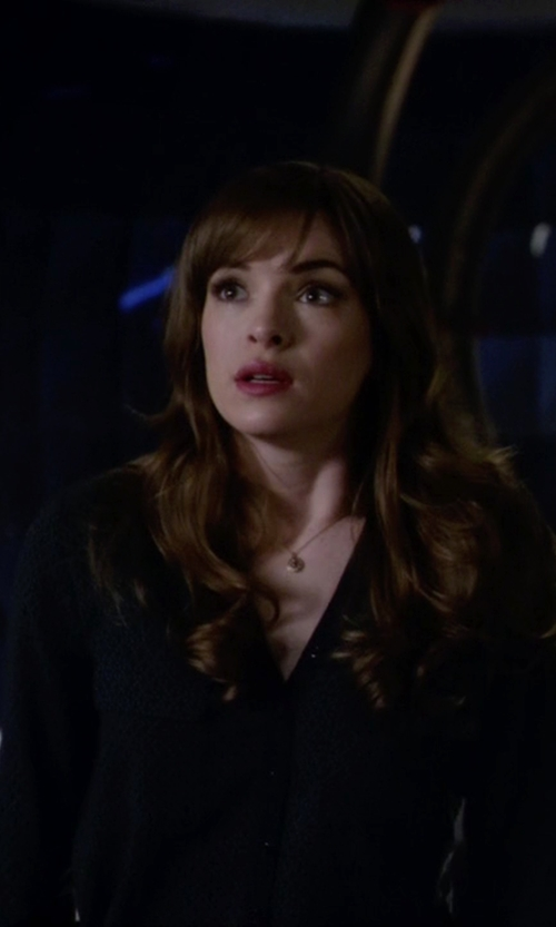 Danielle Panabaker with Equipment Leopard Jacquard Blouse in The Flash