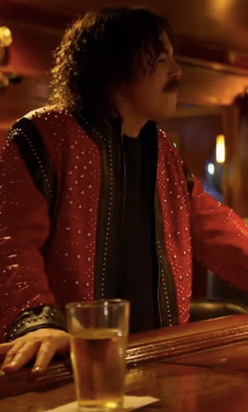 Seth MacFarlane with Idopy Rider Trucker Leather Jacket in Logan Lucky