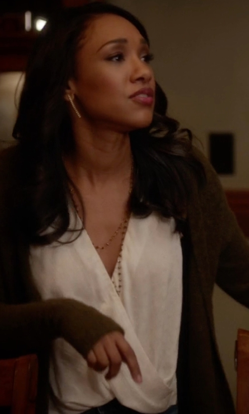 Candice Patton with Theory Alizay Tank Top in The Flash