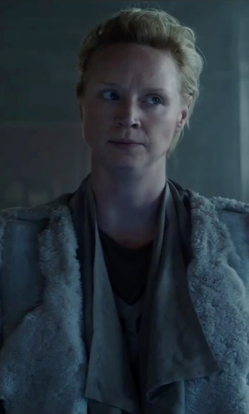 Gwendoline Christie with Vince Asymmetric Shearling Fur Coat in The Hunger Games: Mockingjay - Part 2